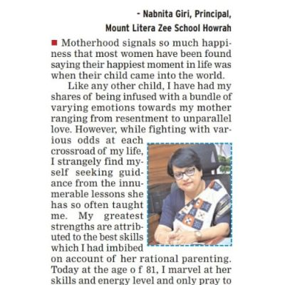 Principal Mam's heartfelt note on the occasion of Mothers day